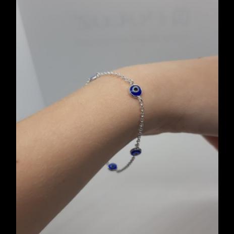 Pulseira Pingente Azul - Prata