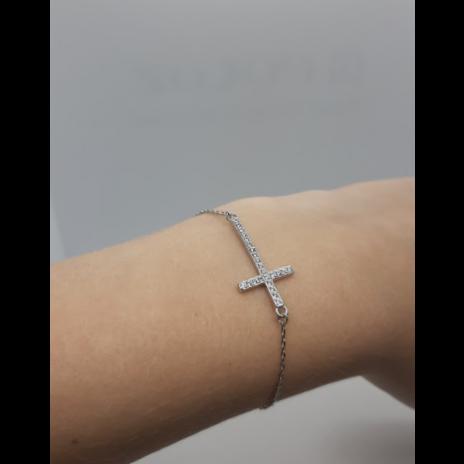 Pulseira Cruz c/ Zircônia - Prata