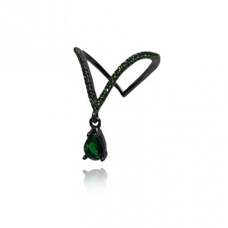 Anel de Prata Ródio Negro Ivy Esmeralda
